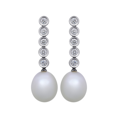 Assael 18k White Gold Diamond + South Sea Pearl Earrings XII