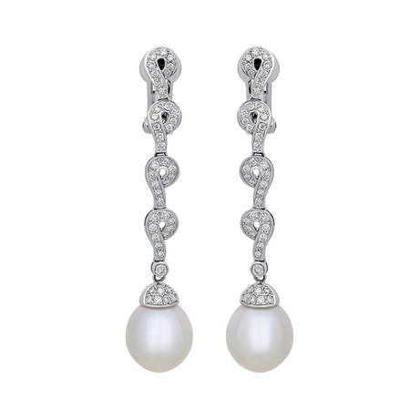Assael 18k White Gold Diamond + South Sea Pearl Earrings VII