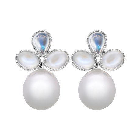 Assael 18k White Gold Moonstone + South Sea Pearl Earrings