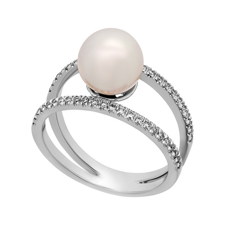 Assael 18k White Gold Diamond + Japanese Akoya Pearl Ring // Ring Size: 6.5