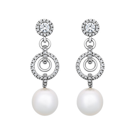 Assael 18k White Gold Diamond + South Sea Pearl Earrings XI