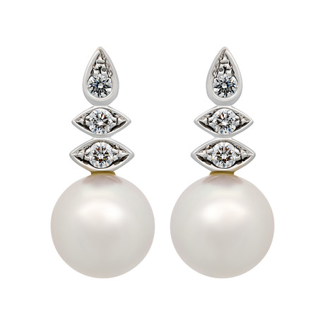 Assael 18k White Gold Diamond + Japanese Akoya Pearl Earrings IV