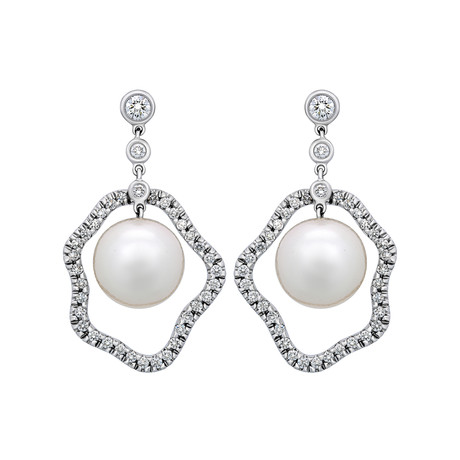 Assael 18k White Gold Diamond + South Sea Pearl Earrings X