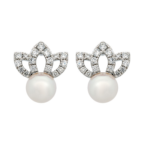 Assael 18k White Gold Diamond + Japanese Akoya Pearl Earrings V