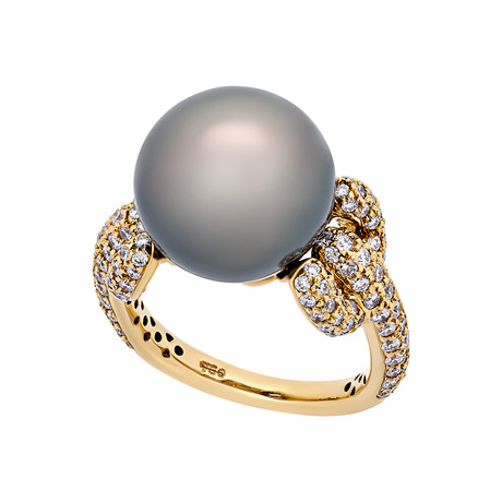 Assael 18k Yellow Gold Diamond + Tahitian Pearl Ring // Ring Size: 6.25