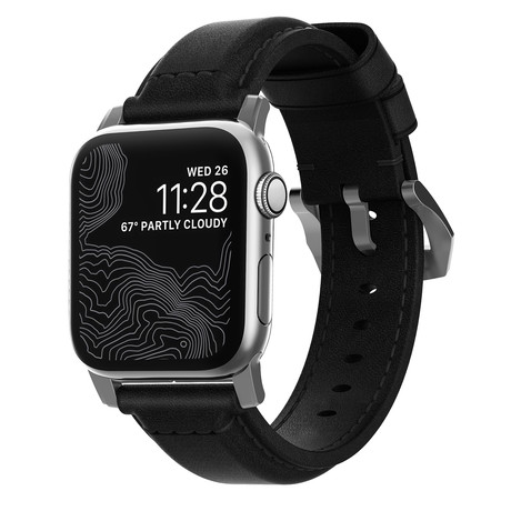 Traditional Strap // 44mm/42mm // Black Leather + Silver Hardware