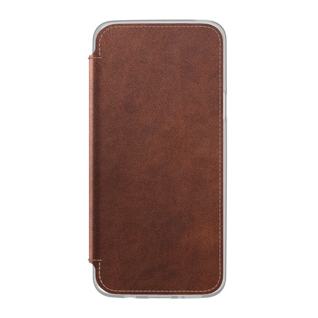 Clear Folio // Rustic Brown Leather (Samsung S9)
