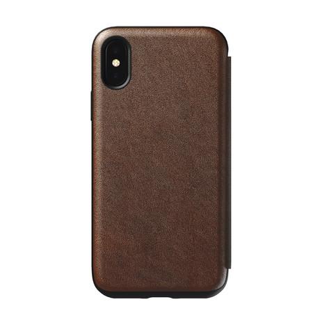 Rugged Folio // Rustic Brown Leather (iPhone XS)