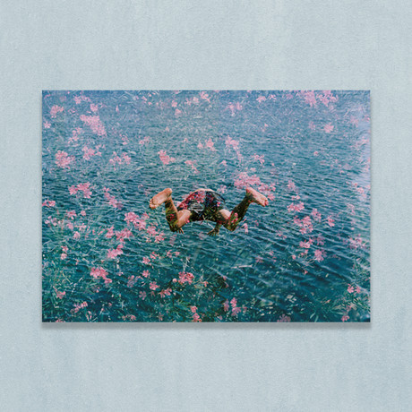 """Diving Into Pink Flowers (16""""W x 20""""H x 1""""D)"""