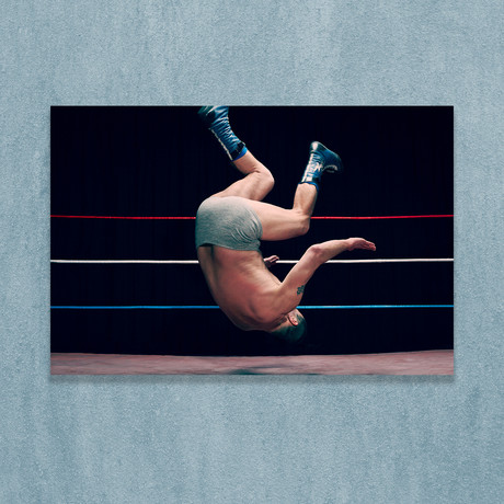 """Wrestler Falling Back Onto Wrestling Ring (16""""W x 20""""H x 1""""D)"""