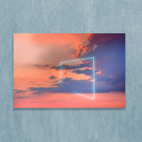 Neon Square Light Between The Clouds