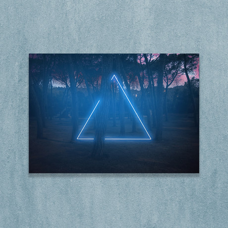 """Blue Neon Triangle In Forest (8""""W x 10""""H x 1""""D)"""