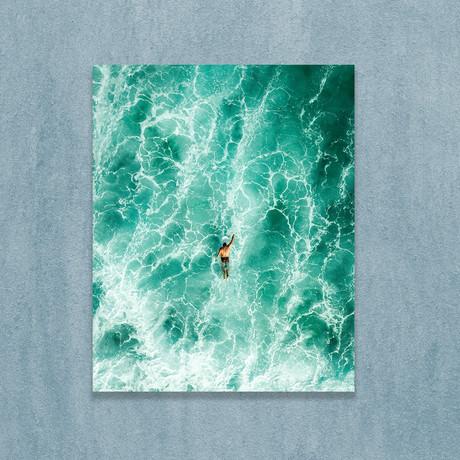 "Man Swimming In Sea (16""W x 20""H x 1""D)"