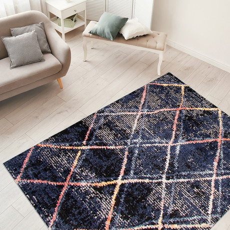 """Morocco Abstract // Navy Blue (5'3""""W x 7'3""""L)"""