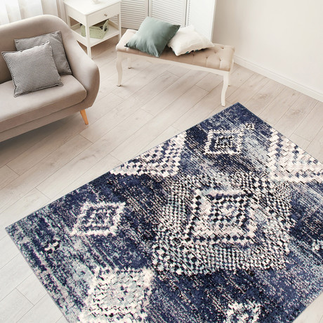 "Morocco Mosaique // Navy Blue (3'11""W x 5'11""L)"