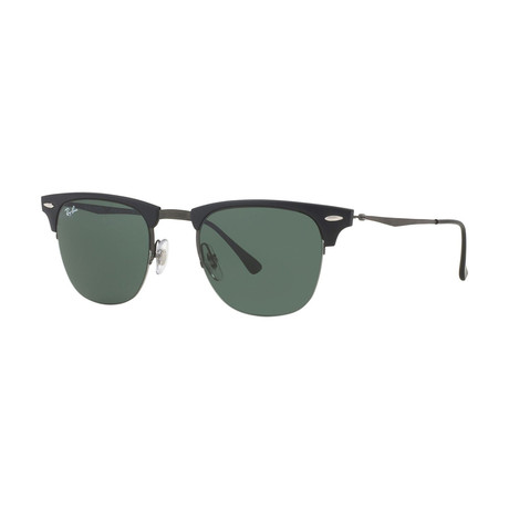 Men's Lightray Titanium Clubmaster Sunglasses // Blasted Gunmetal + Green