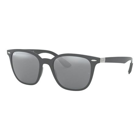 Men's Square Sunglasses // Matte Dark Gray + Gray Mirror + Silver Gradient
