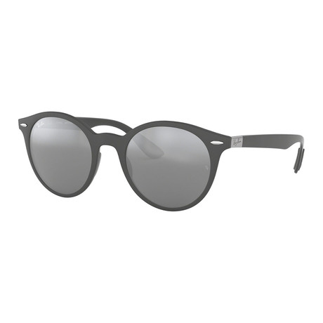 Men's Phantos Sunglasses // Matte Dark Gray + Gray Mirror + Silver Gradient