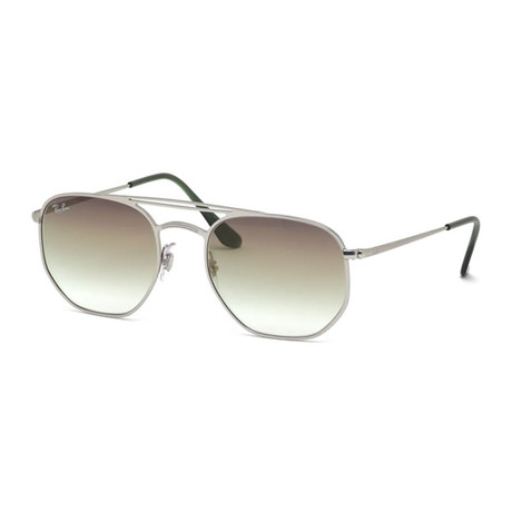 "Men's Square ""Geometric"" Aviator Sunglasses // Silver + Green Gradient"
