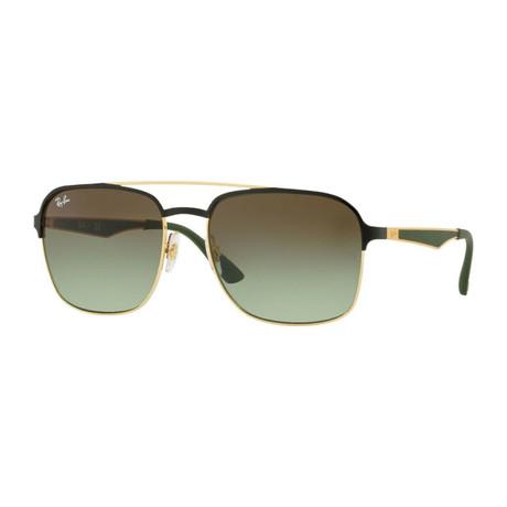 Men's Square Aviator Sunglasses // Gold + Black + Green Gradient