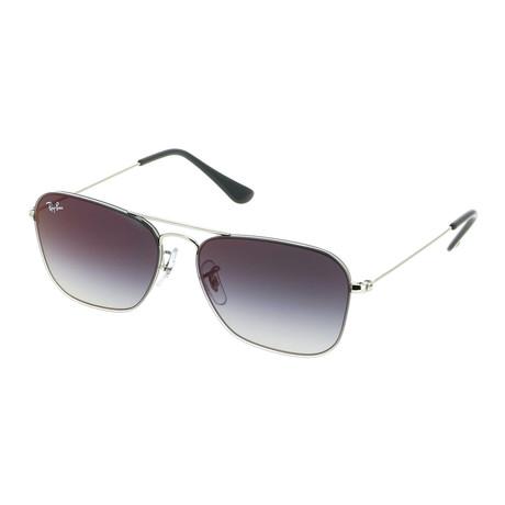 Men's Square Sunglasses // Silver + Gray Gradient