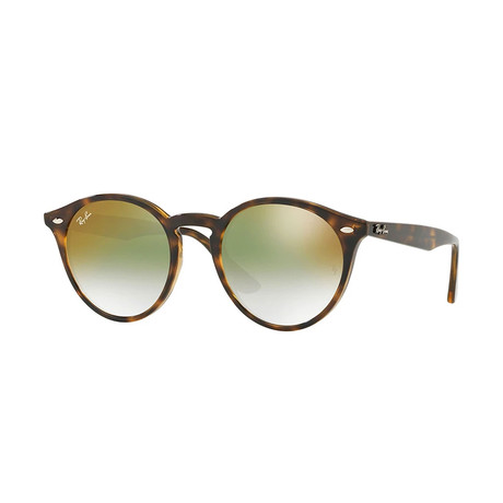 Men's Round Sunglasses // Havana + Green Gradient Mirror