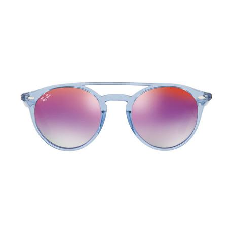 Men's Round Double Bridge Sunglasses // Blue Purple + Violet Gradient Mirror