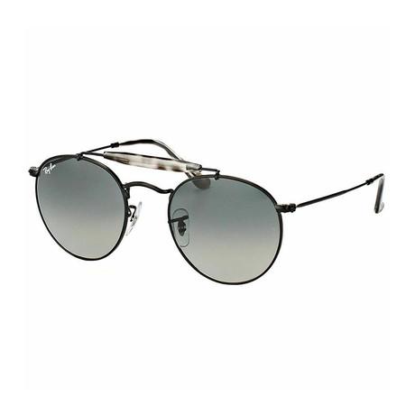 Men's Round Double Bridge Sunglasses // Matte Black + Gray Gradient