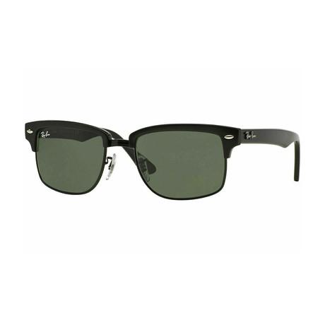 Men's Clubmaster Square Sunglasses // Glossy Black + Green