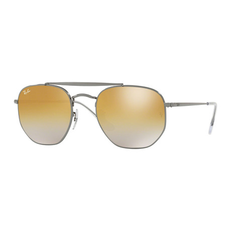 Men's Square Aviator Sunglasses // Gunmetal + Brown Gradient Mirror