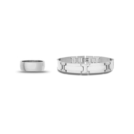 Stainless Steel Polished Band Ring + Link Chain Bracelet Set // Silver