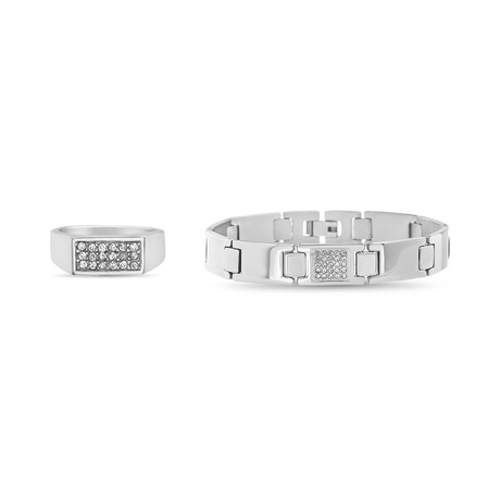 Cubic Zirconia Ring + Polished Square Link Chain Bracelet Set // Silver