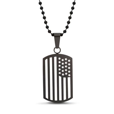 American Flag Prayer Dog Tag Necklace  // Black