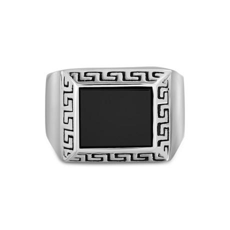 Stainless Steel Onyx Enamel Signet Ring // Black (Size 9)