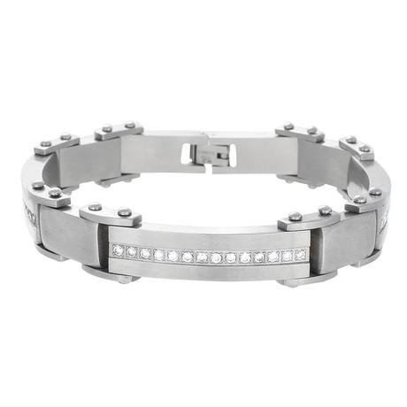 Cubic Zirconia Link Bracelet // Silver