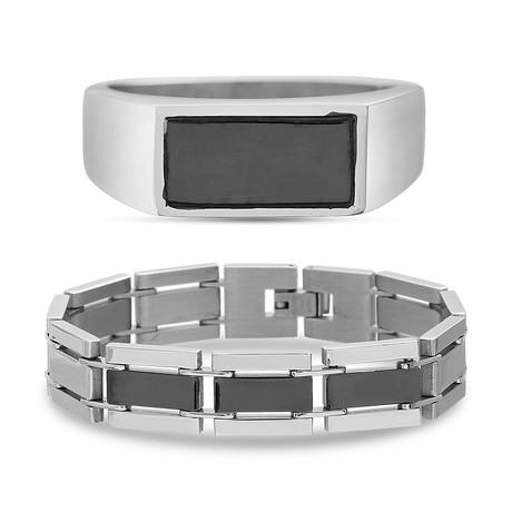 Fiber Carbon Ring + Link Chain Bracelet Set // Silver