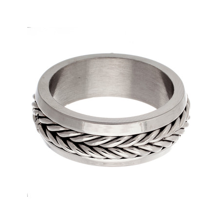 Stainless Steel Braided Band Ring // Silver (Size 9)