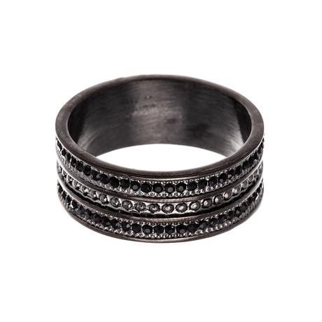Stainless Steel Textured Band Ring // Black (Size 9)