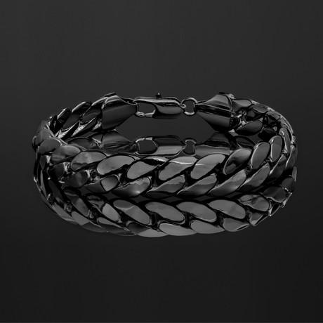 Rhodium Plated Brass Cuban Chain Bracelet // Black