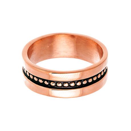 Stainless Steel Beaded Center Band Ring // Black + Rose Gold