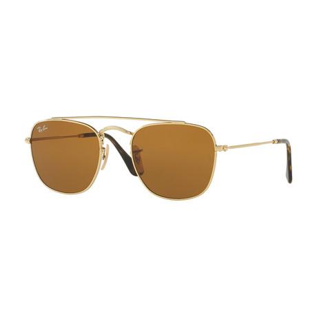 Men's Square Sunglasses // Gold + Brown