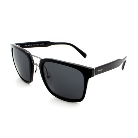 Prada // Men's PR14TS-1AB5SO Square Double Bridge Sunglasses // Black + Gray
