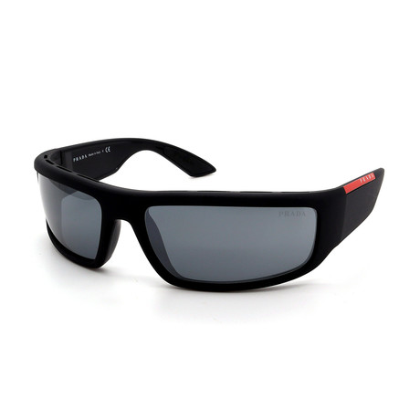 Prada Sport // Men's PS02US-1BO5L0 Sunglasses // Black + Silver Mirror