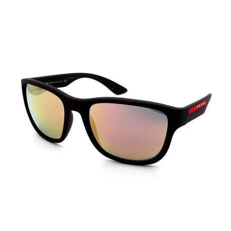 Men's PS01US-VYY2D2 Sunglasses // Black + Silver Mirror