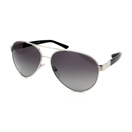 Prada // Men's PR59NS-1BC3M1 Aviator Sunglasses // Silver + Black + Gray Gradient