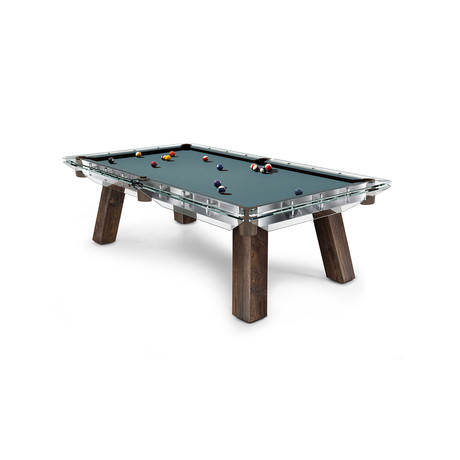 FILOTTO Wood Edition Pool Table (Powder Blue Cloth + Tobacco Pockets)