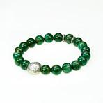 Dell Arte // Rare Peacock Stone + African Jade Bead Bracelet // Green + Silver