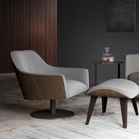 Henry Lounge Chair + Ottoman // Gray Herringbone Fabric + Walnut