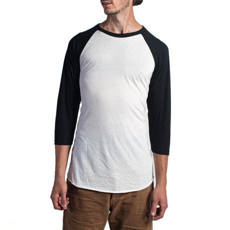 The Classic Long Sleeve Baseball Tee // White + Black (XS)
