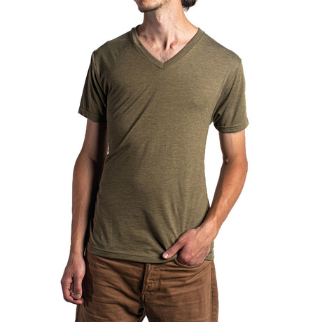 The Triblend V Neck // Military Green (XS)